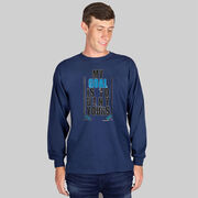 Hockey Tshirt Long Sleeve My Goal Is To Deny Yours (Blue/Black)