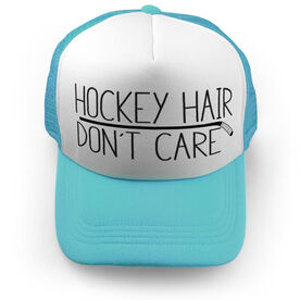 Hockey Trucker Hat - Hockey Hair Don't Care