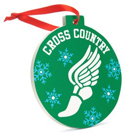 Cross Country Round Ceramic Ornament - Cross Country Winged Foot
