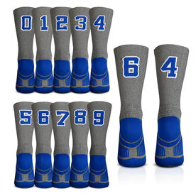 Team Number Woven Mid-Calf Socks - Gray/Blue