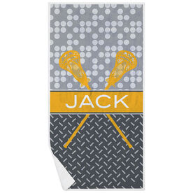 Guys Lacrosse Premium Beach Towel - Personalized 2 Tier Patterns with Crossed Sticks