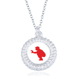 Baseball Braided Circle Necklace - Catcher Silhouette