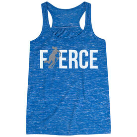 Field Hockey Flowy Racerback Tank Top - Fierce Field Hockey Girl with Silver Glitter