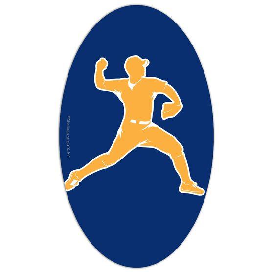 Baseball Oval Car Magnet Pitcher