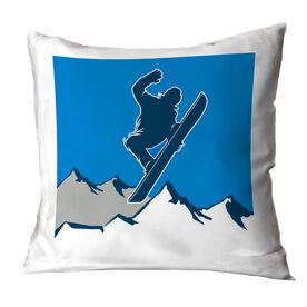 Snowboarding Throw Pillow - Airborne