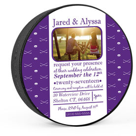 Personalized Traditional Wedding Invitation Hockey Puck