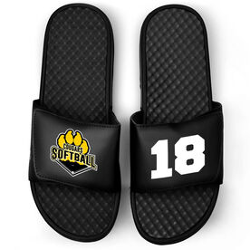 Softball Black Slide Sandals - Logo and Big Number