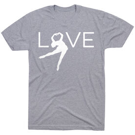 Figure Skating Short Sleeve T-Shirt - Love [Gray/Adult Medium] -SS