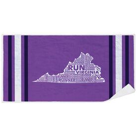 Running Premium Beach Towel - Virginia State Runner