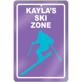 "Skiing 18"" X 12"" Aluminum Room Sign Personalized Ski Zone Girl"