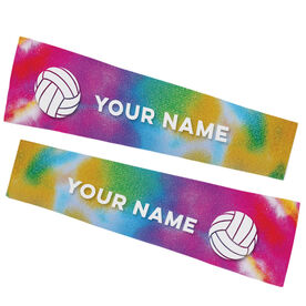 Volleyball Printed Arm Sleeves - Tie Dye Pattern with Volleyball