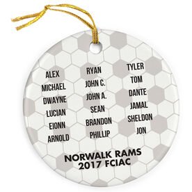 Soccer Porcelain Ornament Personalized Team Roster