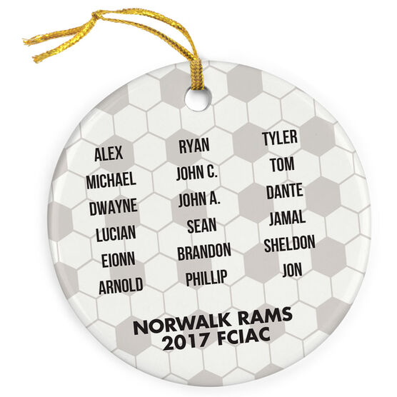 Soccer Porcelain Ornament Personalized Team Roster