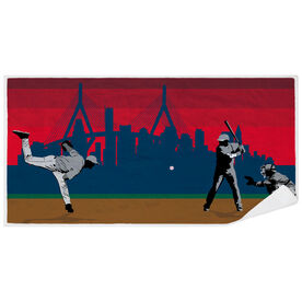 Baseball Premium Beach Towel - Go for the Home Run Boston