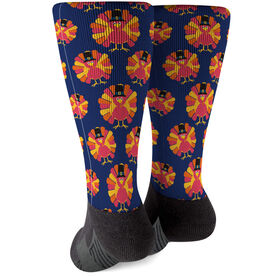 Running Printed Mid-Calf Socks - Turkey Pattern Colorful