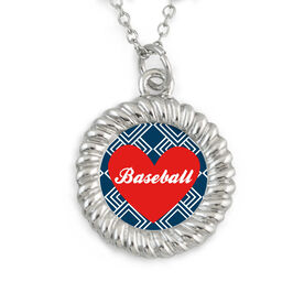 Braided Circle Necklace Baseball Heart with Text