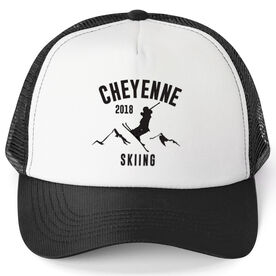 Skiing Trucker Hat - Team Name With Curved Text