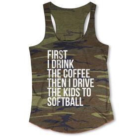 Softball Camouflage Racerback Tank Top - Then I Drive The Kids To Softball