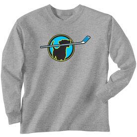 Hockey Tshirt Long Sleeve Hockey Dog