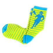 Girls Lacrosse Woven Mid-Calf Socks - Zig Zag (Green/Blue/Yellow)