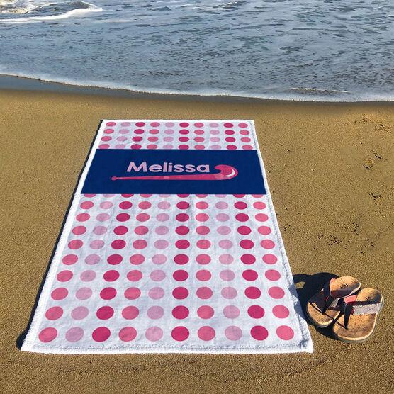 Field Hockey Premium Beach Towel - Personalized Sticks with Dots