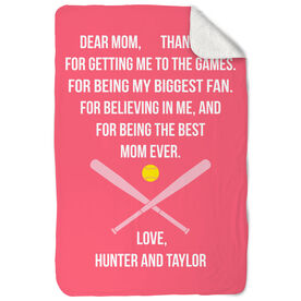 Softball Sherpa Fleece Blanket - Dear Mom Heart
