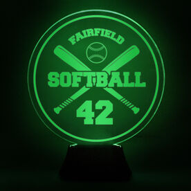 Softball Acrylic LED Lamp Crossed Bats With Name and Number