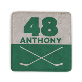 Hockey Stone Coaster - Personalized Hockey Crossed Sticks