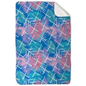 Field Hockey Sherpa Fleece Blanket - Tropical Palm