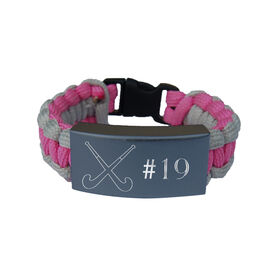 Field Hockey Paracord Engraved Bracelet - Field Hockey With 1 Line/Pink