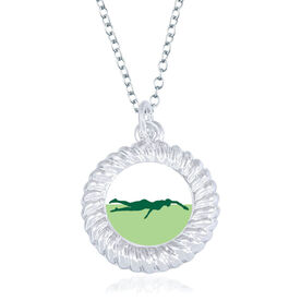 Swimming Braided Circle Necklace - Female Swimmer Silhouette