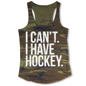 Hockey Camouflage Racerback Tank Top - I Can't. I Have Hockey