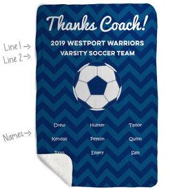 Soccer Sherpa Fleece Blanket - Personalized Thanks Coach Chevron