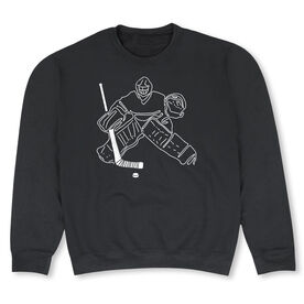 Hockey Crew Neck Sweatshirt - Hockey Goalie Sketch