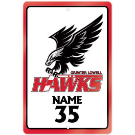 """Room Sign (18""""x12"""") - Personalized Greater Lowell Hawks Hockey Logo"""