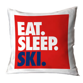 Skiing Throw Pillow - Eat Sleep Ski