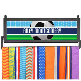 AthletesWALL Medal Display - Personalized 2 Tier Patterns with Soccer Ball