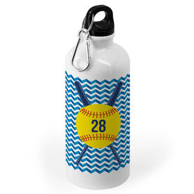 Softball 20 oz. Stainless Steel Water Bottle - Ball Icon with Number