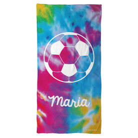 Soccer Beach Towel Personalized Tie Dye with Ball