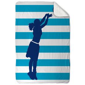Basketball Sherpa Fleece Blanket Stripes With Girl Silhouette