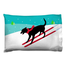 Skiing Pillowcase - Vintage Dog