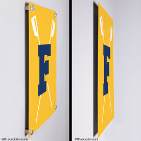 """Crew 18"""" X 12"""" Aluminum Room Sign - Crossed Oars With Initial"""