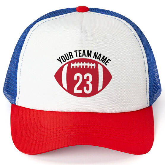 Football Trucker Hat Number in Ball