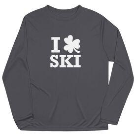 Skiing Long Sleeve Performance Tee - Skiing Tshirt Short Sleeve I Shamrock Ski