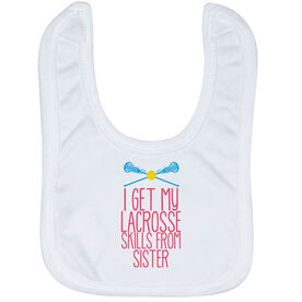 Girls Lacrosse Baby Bib - I Get My Skills From