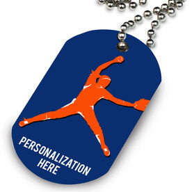 Softball Printed Dog Tag Necklace Personalized Softball Pitcher