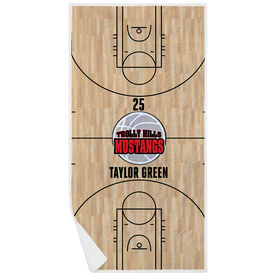 Basketball Premium Beach Towel - Personalized Court with Logo
