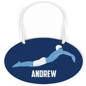 Swimming Oval Sign - Personalized Swimmer Guy