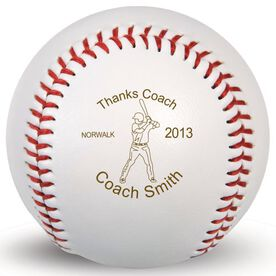 Baseball Thanks Coach Player Laser Engraved Baseball
