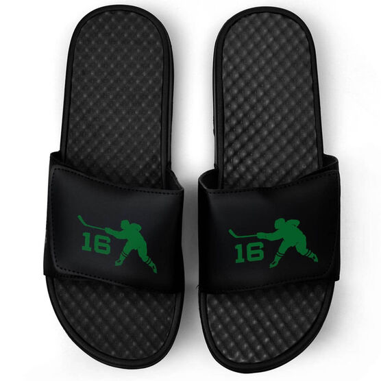 Hockey Black Slide Sandals - Hockey Slapshot with Number